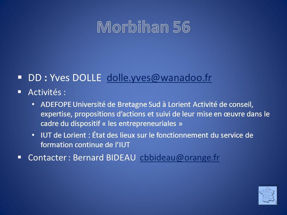 DD : Yves DOLLE dolle.yves@wanadoo.frdolle.yves@wanadoo.fr Activités : ADEFOPE Université de Bretagne Sud à Lorient Activité de conseil, expertise, pr
