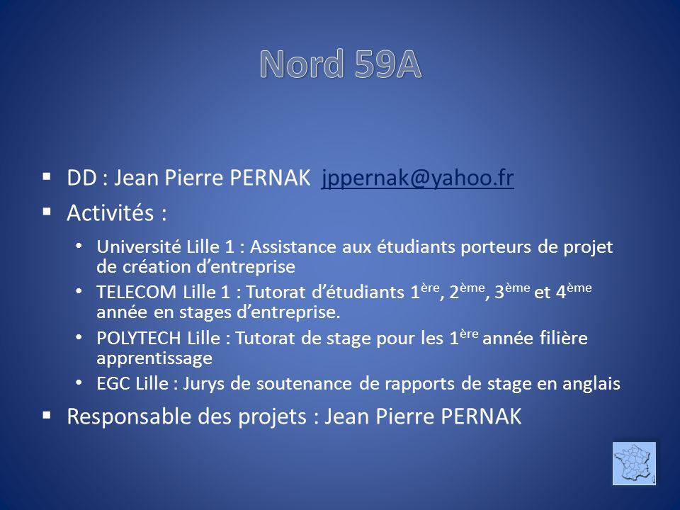 DD : Jean Pierre PERNAK jppernak@yahoo.frjppernak@yahoo.fr Activités : Université Lille 1 : Assistance aux étudiants porteurs de projet de création de