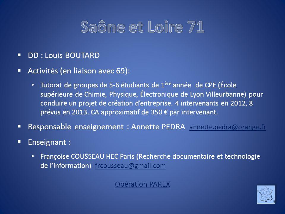 DD : Louis BOUTARD Activités (en liaison avec 69): Tutorat de groupes de 5-6 étudiants de 1 ère année de CPE (École supérieure de Chimie, Physique, Él