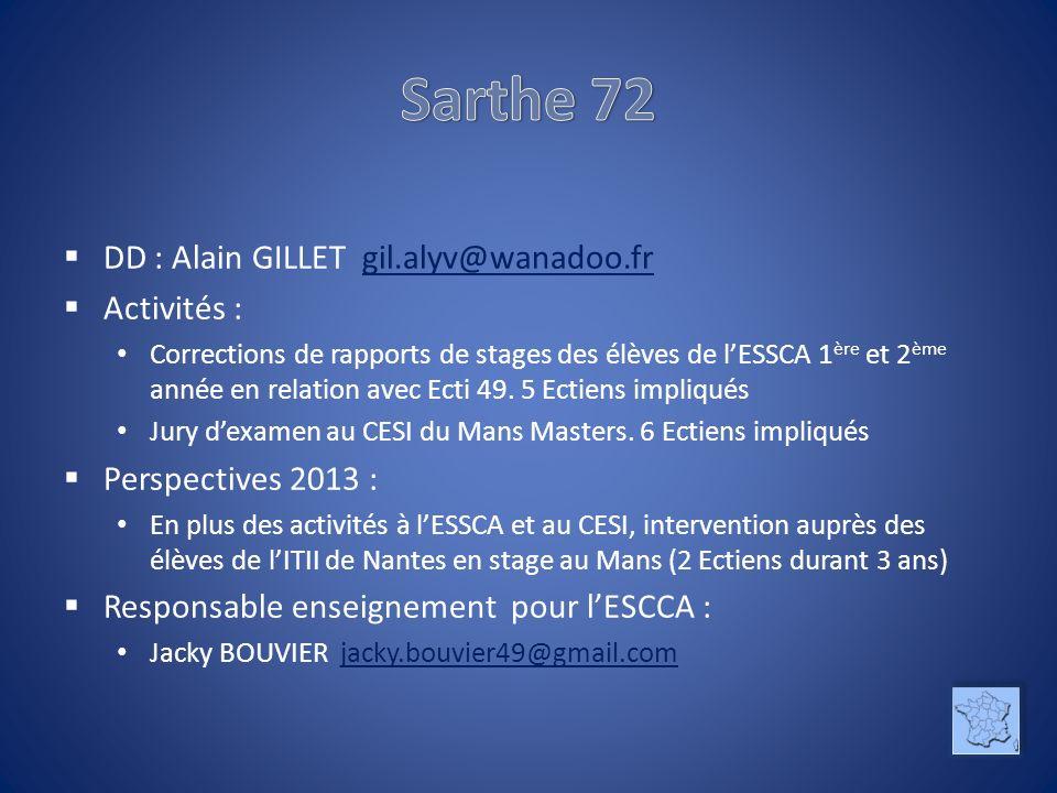 DD : Alain GILLET gil.alyv@wanadoo.frgil.alyv@wanadoo.fr Activités : Corrections de rapports de stages des élèves de lESSCA 1 ère et 2 ème année en re