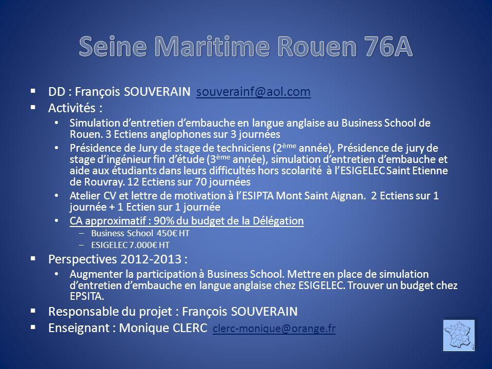 DD : François SOUVERAIN souverainf@aol.comsouverainf@aol.com Activités : Simulation dentretien dembauche en langue anglaise au Business School de Roue