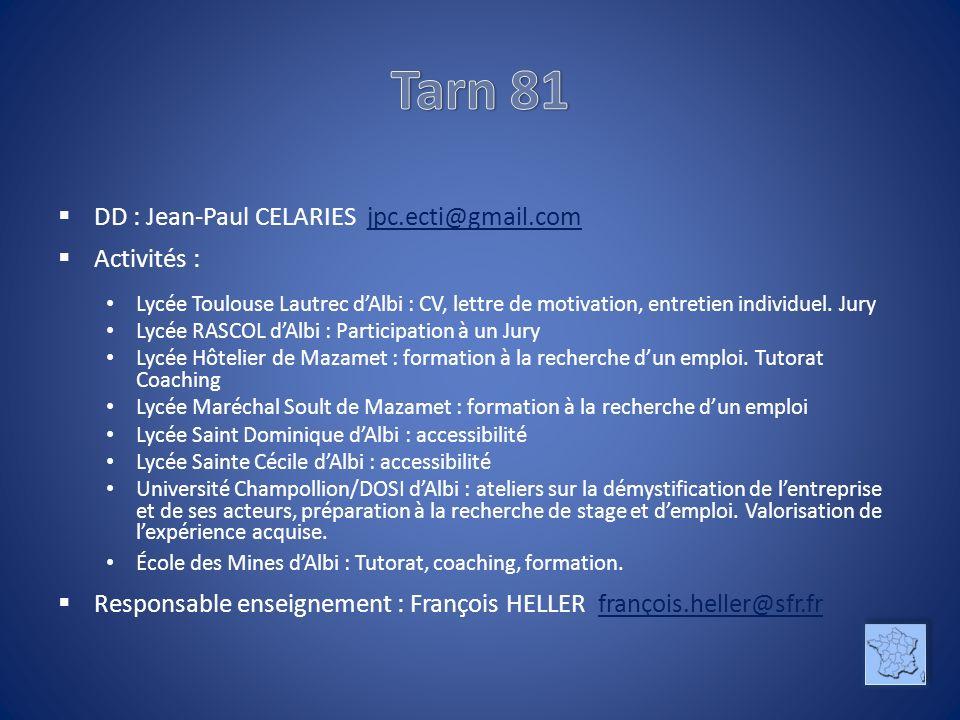 DD : Jean-Paul CELARIES jpc.ecti@gmail.comjpc.ecti@gmail.com Activités : Lycée Toulouse Lautrec dAlbi : CV, lettre de motivation, entretien individuel