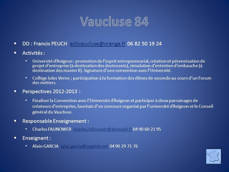 DD : Francis PEUCH ectivaucluse@orange.fr 06 82 50 19 24ectivaucluse@orange.fr Activités : Université dAvignon : promotion de lesprit entrepreneurial,