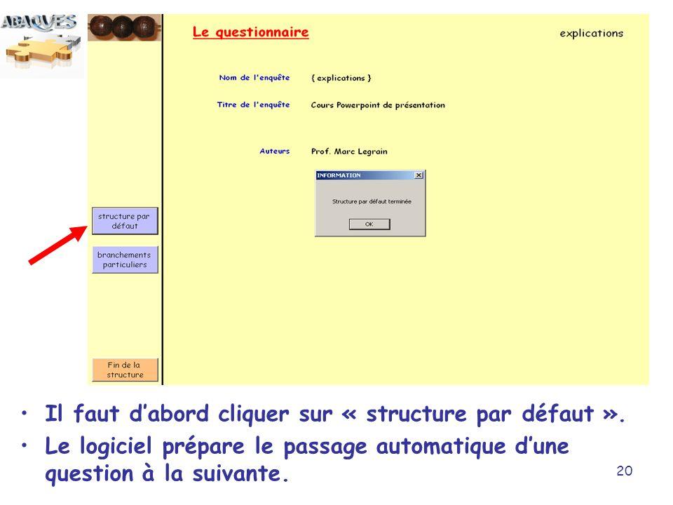 20 Il faut dabord cliquer sur « structure par défaut ». Le logiciel prépare le passage automatique dune question à la suivante.