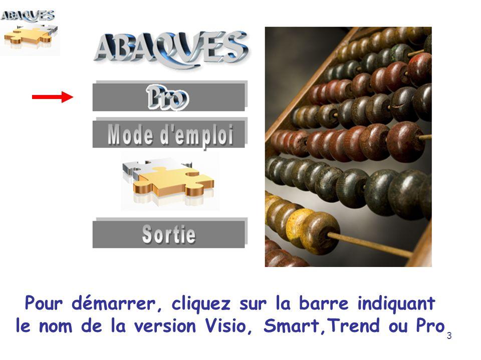 3 Pour démarrer, cliquez sur la barre indiquant le nom de la version Visio, Smart,Trend ou Pro