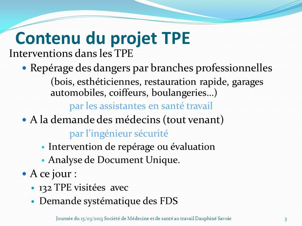 Contenu du projet TPE Interventions dans les TPE Repérage des dangers par branches professionnelles (bois, esthéticiennes, restauration rapide, garage