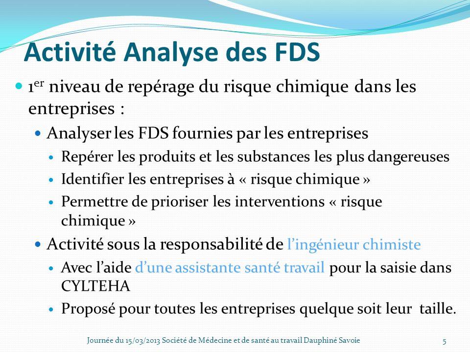 Activité Analyse des FDS 1 er niveau de repérage du risque chimique dans les entreprises : Analyser les FDS fournies par les entreprises Repérer les p