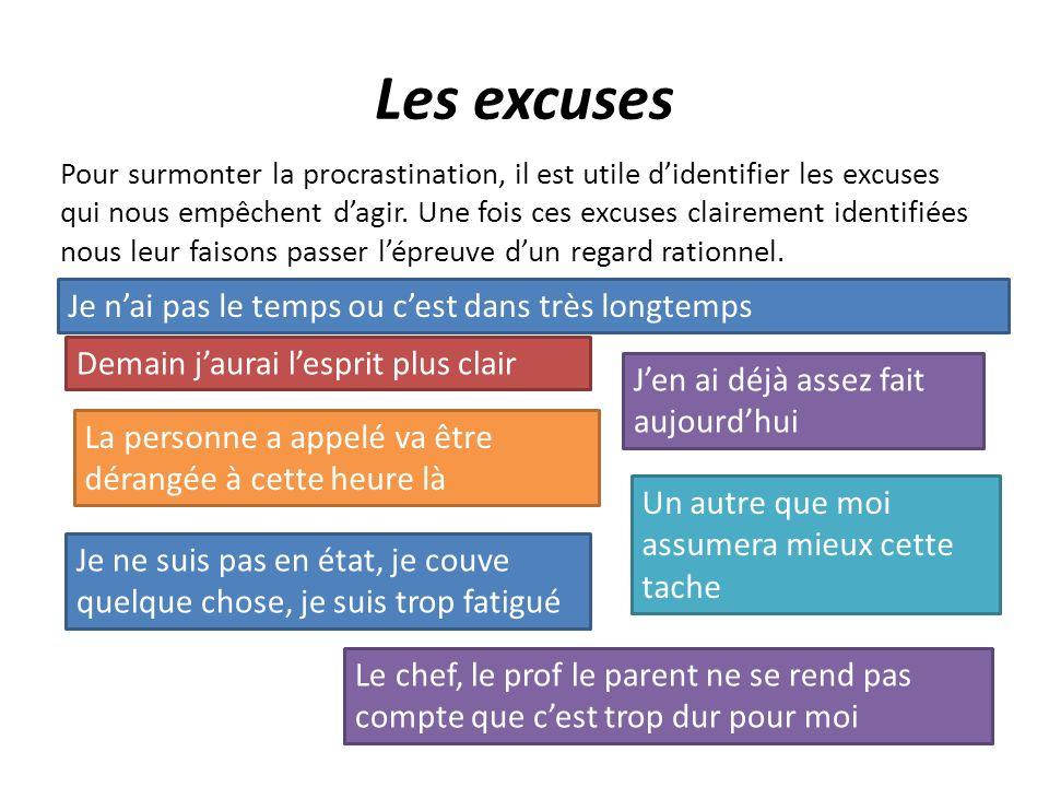 Les excuses Pour surmonter la procrastination, il est utile didentifier les excuses qui nous empêchent dagir. Une fois ces excuses clairement identifi