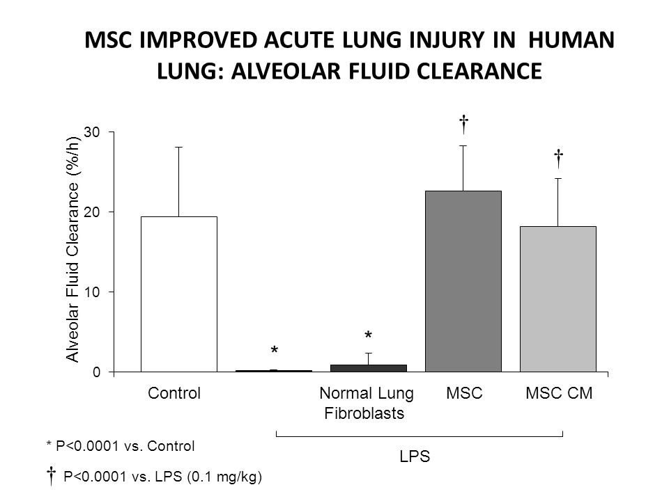Alveolar Fluid Clearance (%/h) ControlMSC MSC CM 0 10 20 30 Normal Lung Fibroblasts * * LPS * P<0.0001 vs. Control P<0.0001 vs. LPS (0.1 mg/kg) MSC IM
