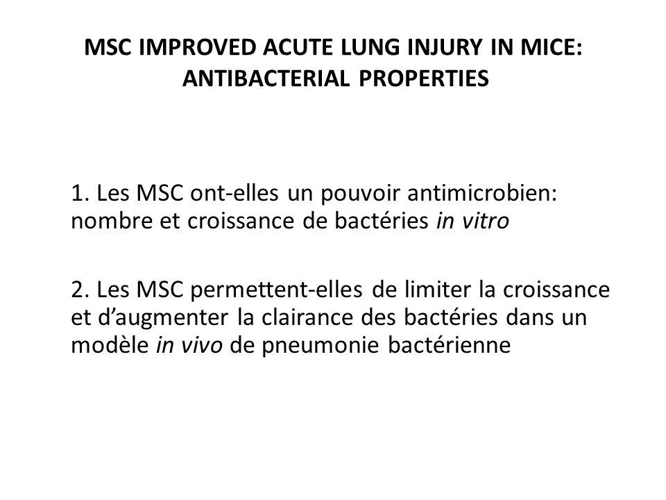 1. Les MSC ont-elles un pouvoir antimicrobien: nombre et croissance de bactéries in vitro 2. Les MSC permettent-elles de limiter la croissance et daug