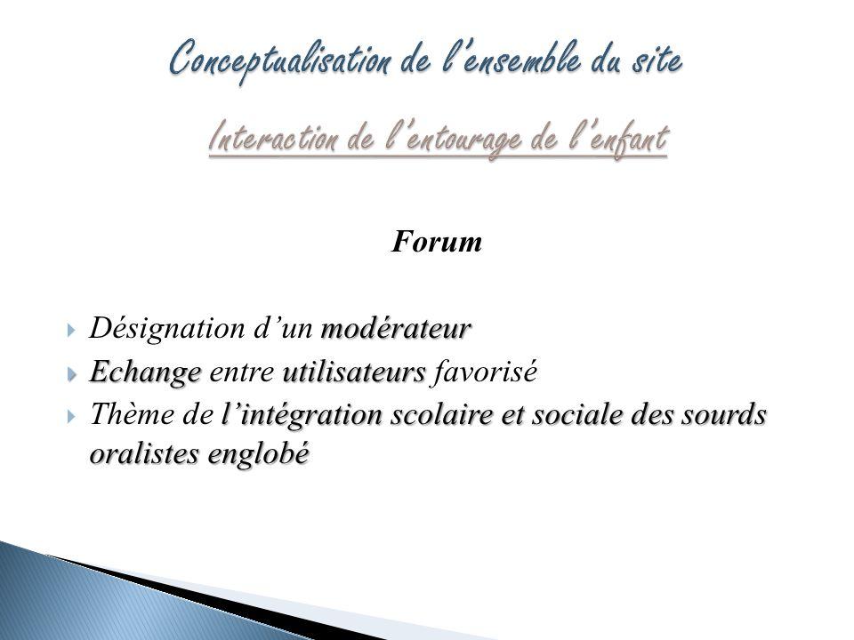 Forum modérateur Désignation dun modérateur Echangeutilisateurs Echange entre utilisateurs favorisé lintégration scolaire et sociale des sourds oralis