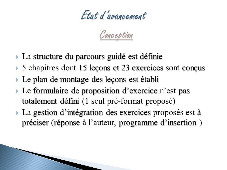 structure du parcours guidé est définie La structure du parcours guidé est définie 15 leçons et 23 exercices conçus 5 chapitres dont 15 leçons et 23 e