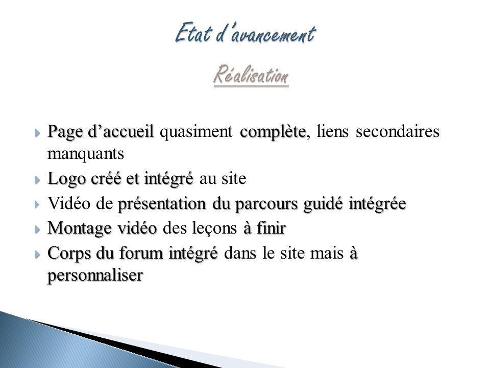 Page daccueil complète Page daccueil quasiment complète, liens secondaires manquants Logo créé et intégré Logo créé et intégré au site présentation du