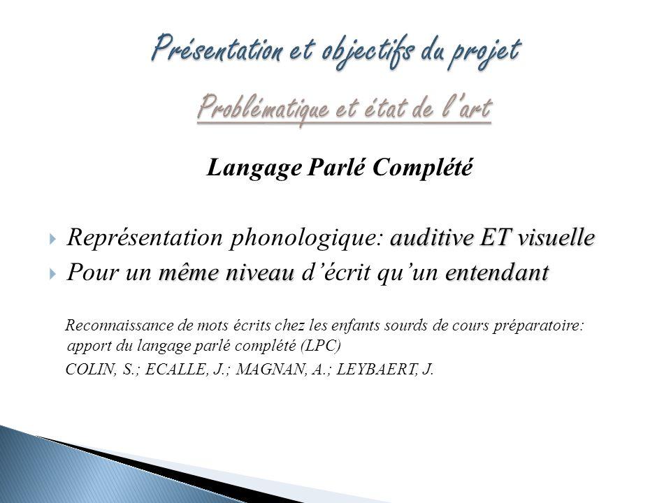 Langage Parlé Complété auditive ET visuelle Représentation phonologique: auditive ET visuelle même niveau entendant Pour un même niveau décrit quun en