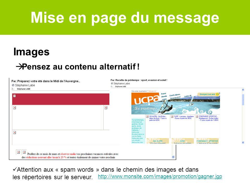 Images http://www.monsite.com/images/promotion/gagner.jgp Attention aux « spam words » dans le chemin des images et dans les répertoires sur le serveu