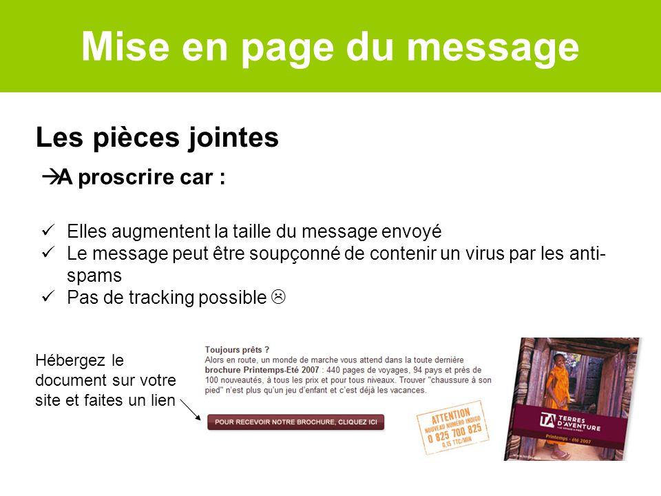 Les pièces jointes Hébergez le document sur votre site et faites un lien A proscrire car : Elles augmentent la taille du message envoyé Le message peu