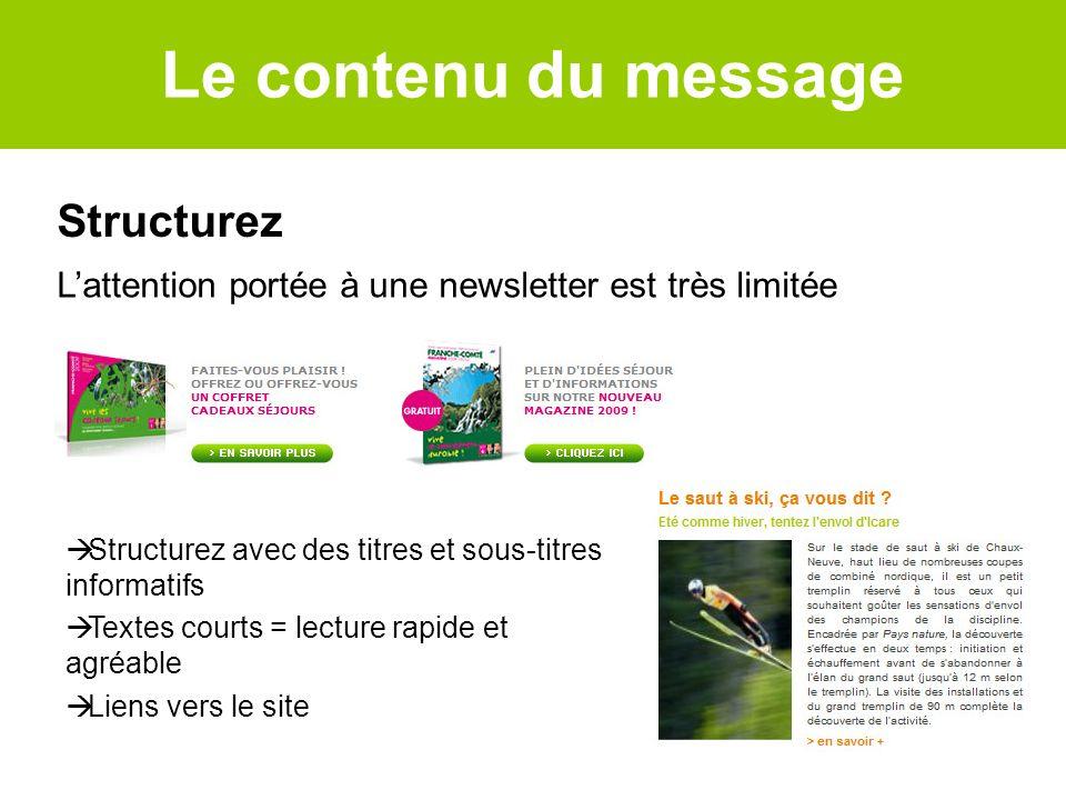 Structurez Structurez avec des titres et sous-titres informatifs Textes courts = lecture rapide et agréable Liens vers le site Lattention portée à une