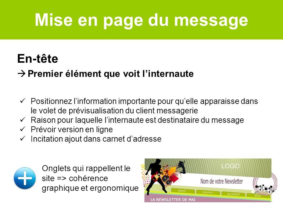 Mise en page du message En-tête Premier élément que voit linternaute Onglets qui rappellent le site => cohérence graphique et ergonomique Positionnez
