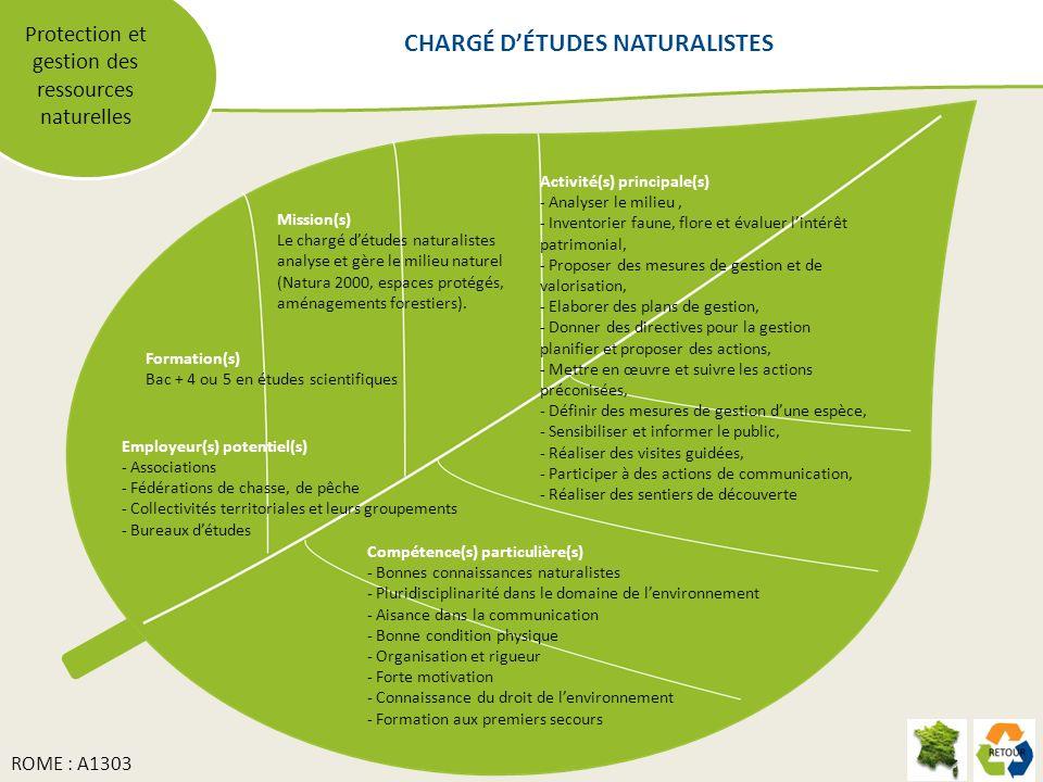 Protection et gestion des ressources naturelles Mission(s) Le chargé détudes naturalistes analyse et gère le milieu naturel (Natura 2000, espaces protégés, aménagements forestiers).