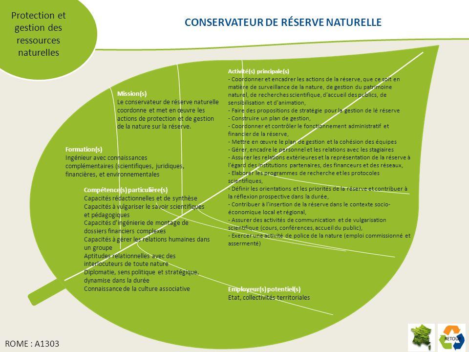 Protection et gestion des ressources naturelles Mission(s) Le conservateur de réserve naturelle coordonne et met en œuvre les actions de protection et de gestion de la nature sur la réserve.