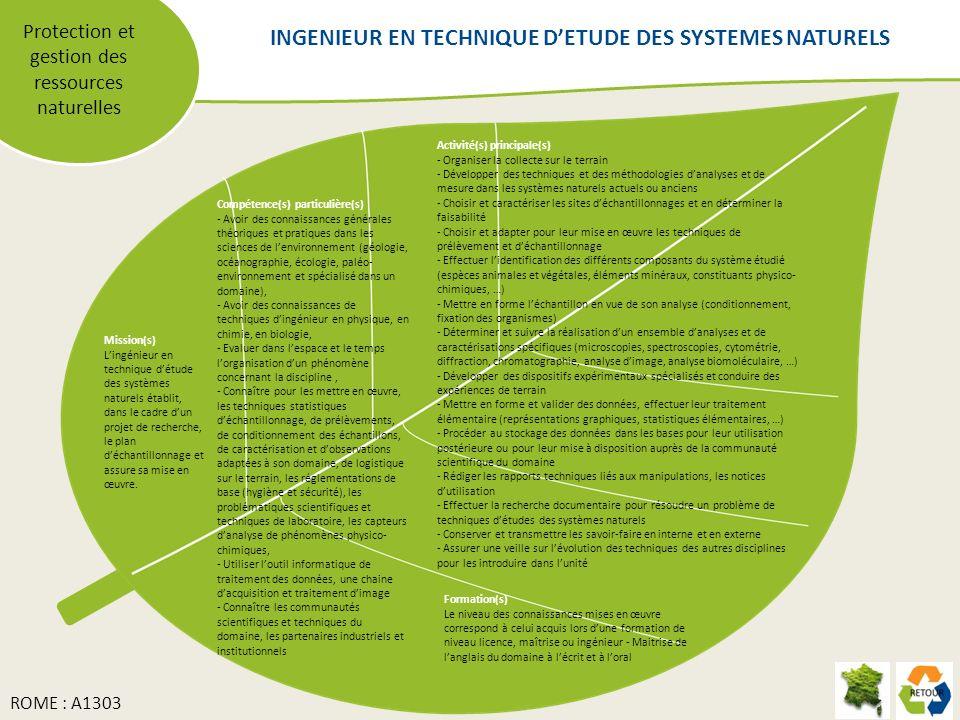 Protection et gestion des ressources naturelles Mission(s) Lingénieur en technique détude des systèmes naturels établit, dans le cadre dun projet de recherche, le plan déchantillonnage et assure sa mise en œuvre.