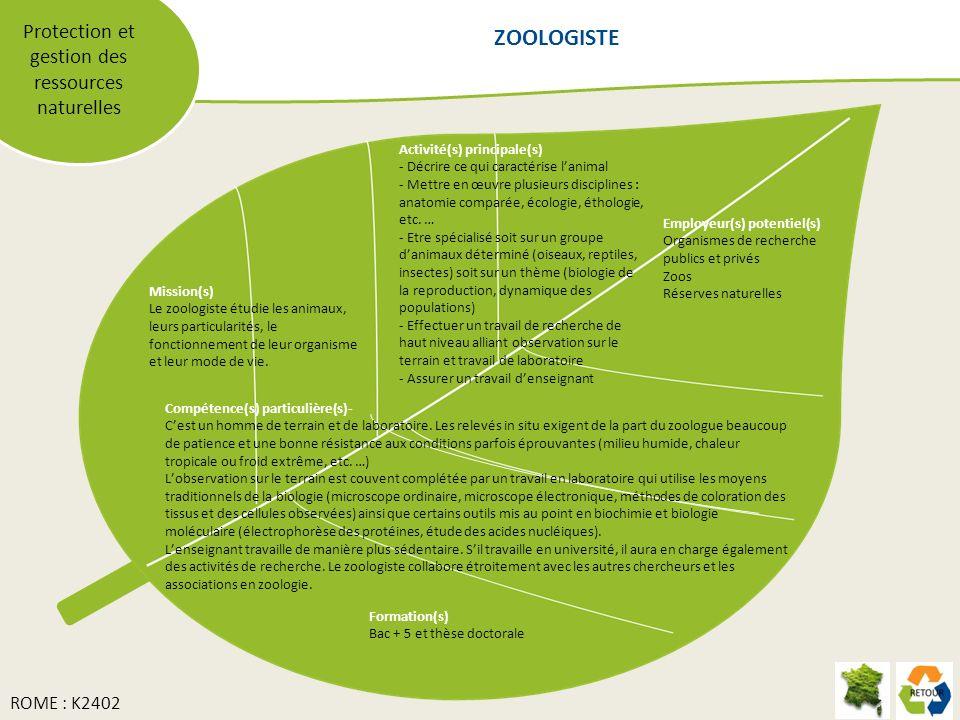 Protection et gestion des ressources naturelles Mission(s) Le zoologiste étudie les animaux, leurs particularités, le fonctionnement de leur organisme et leur mode de vie.