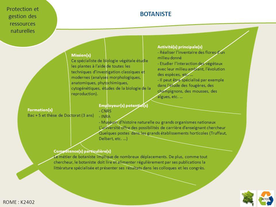 Protection et gestion des ressources naturelles Mission(s) Ce spécialiste de biologie végétale étudie les plantes à laide de toutes les techniques din