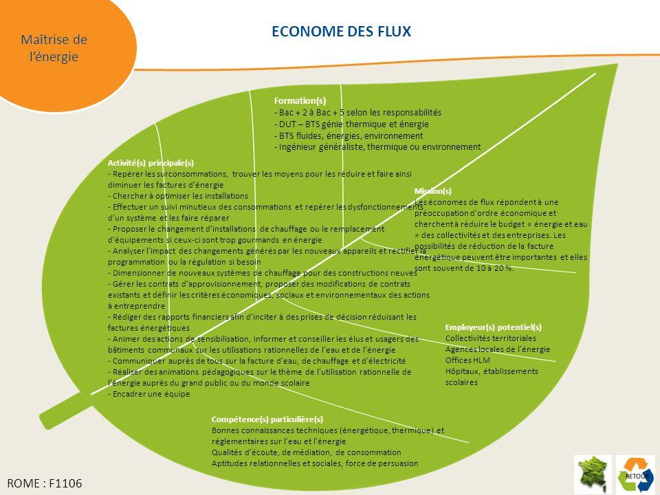 Maîtrise de lénergie Mission(s) Les économes de flux répondent à une préoccupation dordre économique et cherchent à réduire le budget « énergie et eau