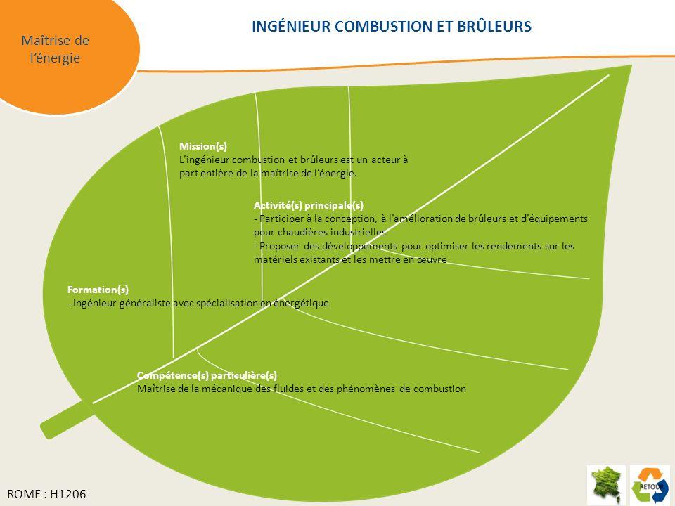 Maîtrise de lénergie Mission(s) Lingénieur combustion et brûleurs est un acteur à part entière de la maîtrise de lénergie.