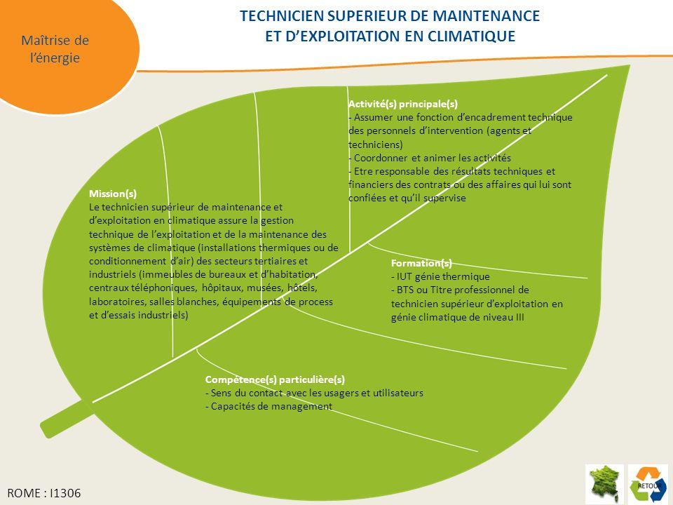 Maîtrise de lénergie Mission(s) Le technicien supérieur de maintenance et dexploitation en climatique assure la gestion technique de lexploitation et