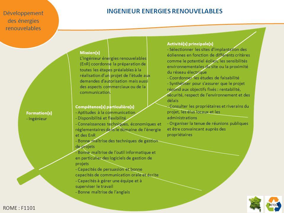 Mission(s) Lingénieur énergies renouvelables (EnR) coordonne la préparation de toutes les étapes préalables à la réalisation dun projet de létude aux demandes dautorisation mais aussi des aspects commerciaux ou de la communication.