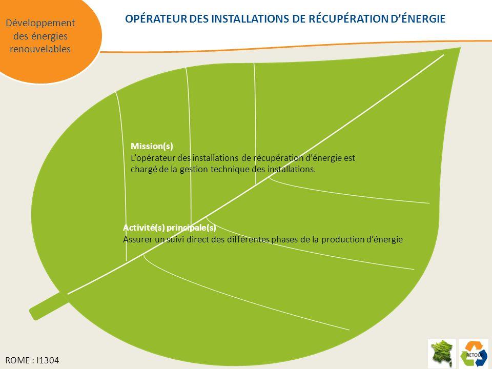 Mission(s) Lopérateur des installations de récupération dénergie est chargé de la gestion technique des installations. Activité(s) principale(s) Assur