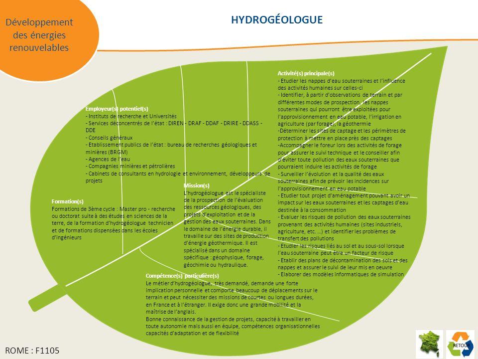 Développement des énergies renouvelables Mission(s) Lhydrogéologue est le spécialiste de la prospection de lévaluation des ressources géologiques, des projets dexploitation et de la gestion des eaux souterraines.