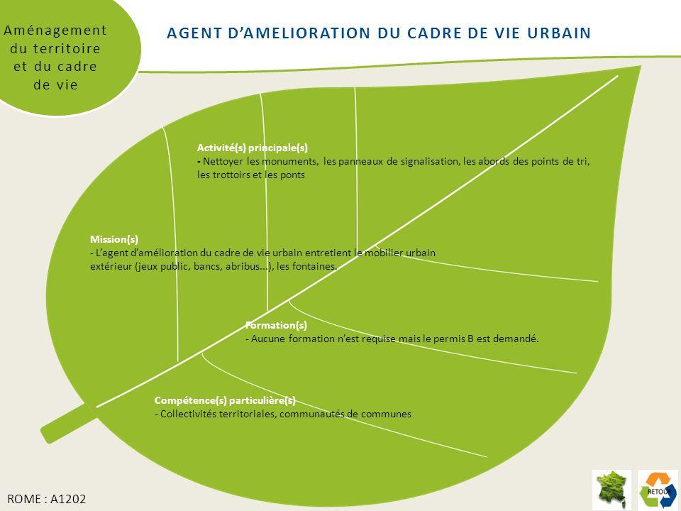 Aménagement du territoire et du cadre de vie Mission(s) - Lagent damélioration du cadre de vie urbain entretient le mobilier urbain extérieur (jeux public, bancs, abribus...), les fontaines.