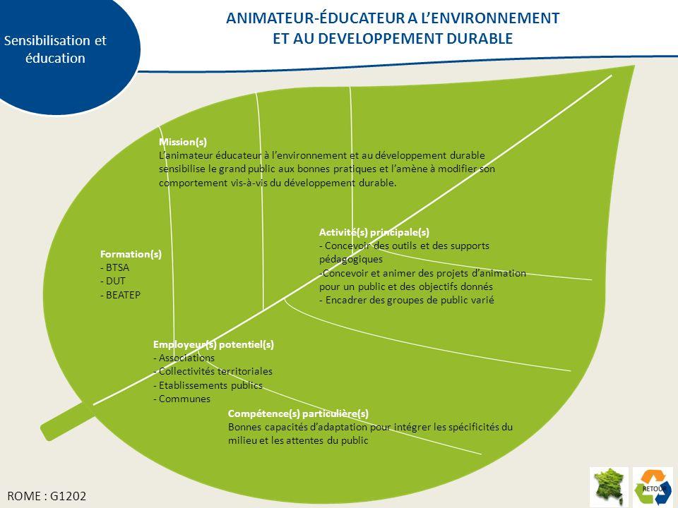 Sensibilisation et éducation Mission(s) Lanimateur éducateur à lenvironnement et au développement durable sensibilise le grand public aux bonnes pratiques et lamène à modifier son comportement vis-à-vis du développement durable.