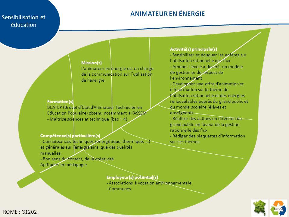 Mission(s) Lanimateur en énergie est en charge de la communication sur lutilisation de lénergie. Activité(s) principale(s) - Sensibiliser et éduquer l