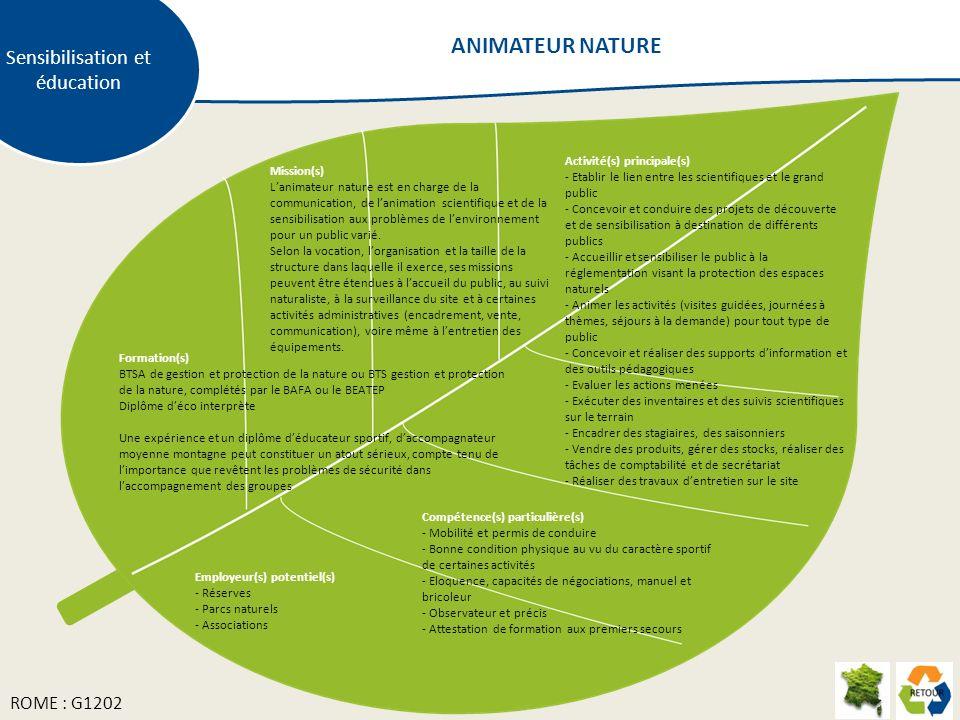 Mission(s) Lanimateur nature est en charge de la communication, de lanimation scientifique et de la sensibilisation aux problèmes de lenvironnement po