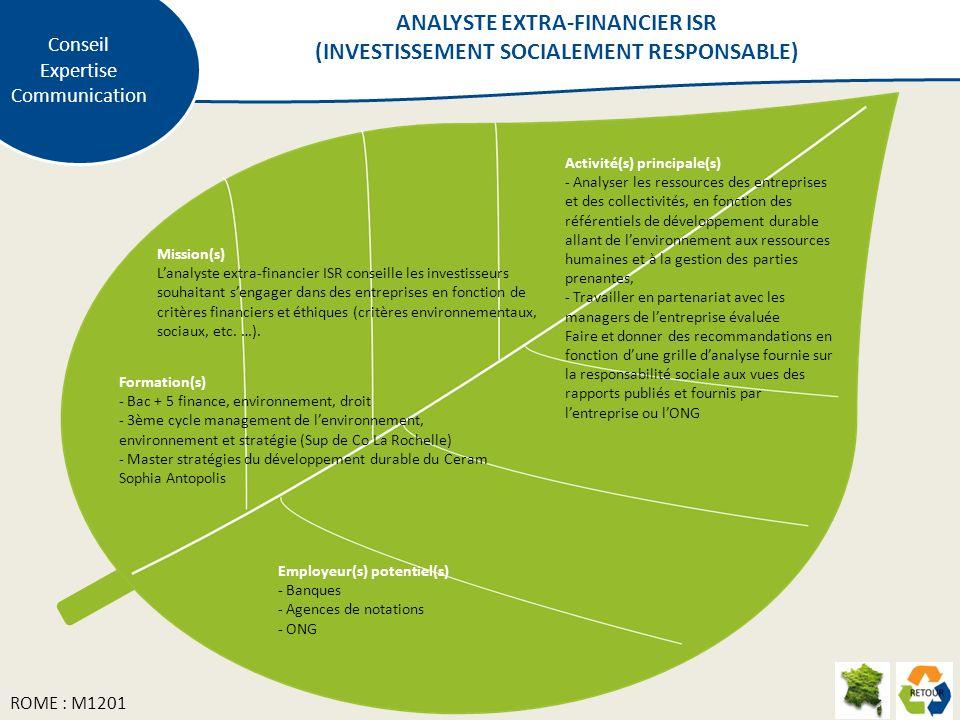 Conseil Expertise Communication Mission(s) Lanalyste extra-financier ISR conseille les investisseurs souhaitant sengager dans des entreprises en fonction de critères financiers et éthiques (critères environnementaux, sociaux, etc.