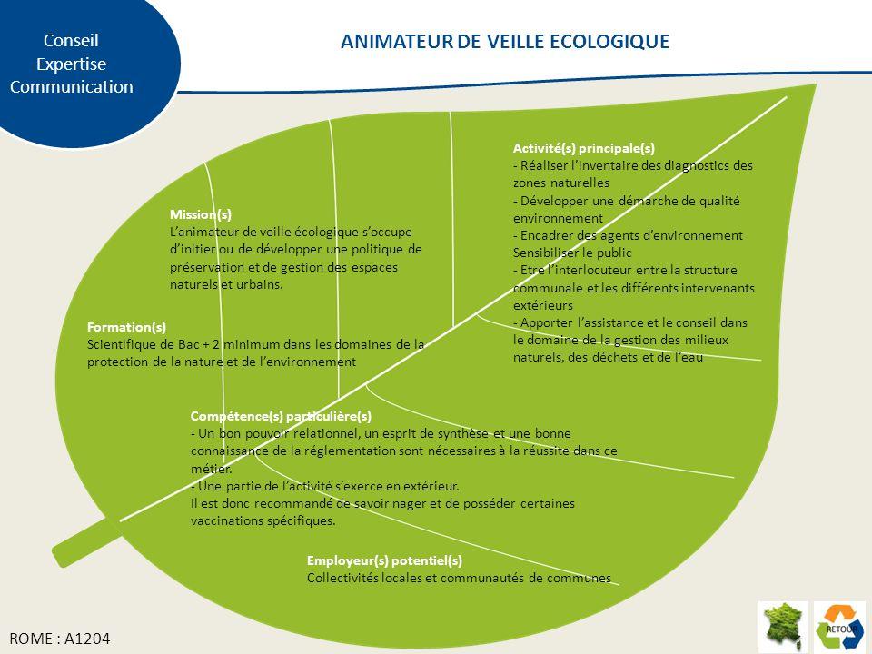 Mission(s) Lanimateur de veille écologique soccupe dinitier ou de développer une politique de préservation et de gestion des espaces naturels et urbai