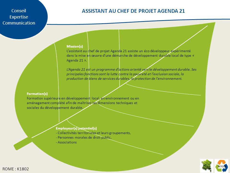 Mission(s) Lassistant au chef de projet Agenda 21 assiste un éco développeur expérimenté dans la mise en œuvre dune démarche de développement durable local de type « Agenda 21 ».