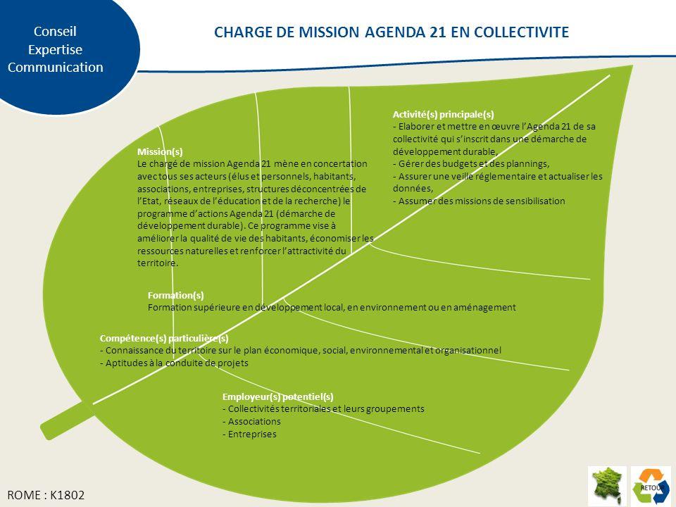 Mission(s) Le chargé de mission Agenda 21 mène en concertation avec tous ses acteurs (élus et personnels, habitants, associations, entreprises, structures déconcentrées de lEtat, réseaux de léducation et de la recherche) le programme dactions Agenda 21 (démarche de développement durable).