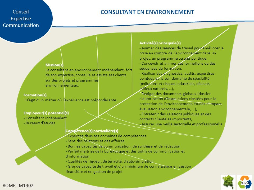 Mission(s) Le consultant en environnement indépendant, fort de son expertise, conseille et assiste ses clients sur des projets et programmes environne