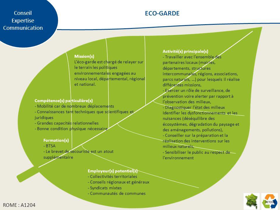 Mission(s) Léco-garde est chargé de relayer sur le terrain les politiques environnementales engagées au niveau local, départemental, régional et natio