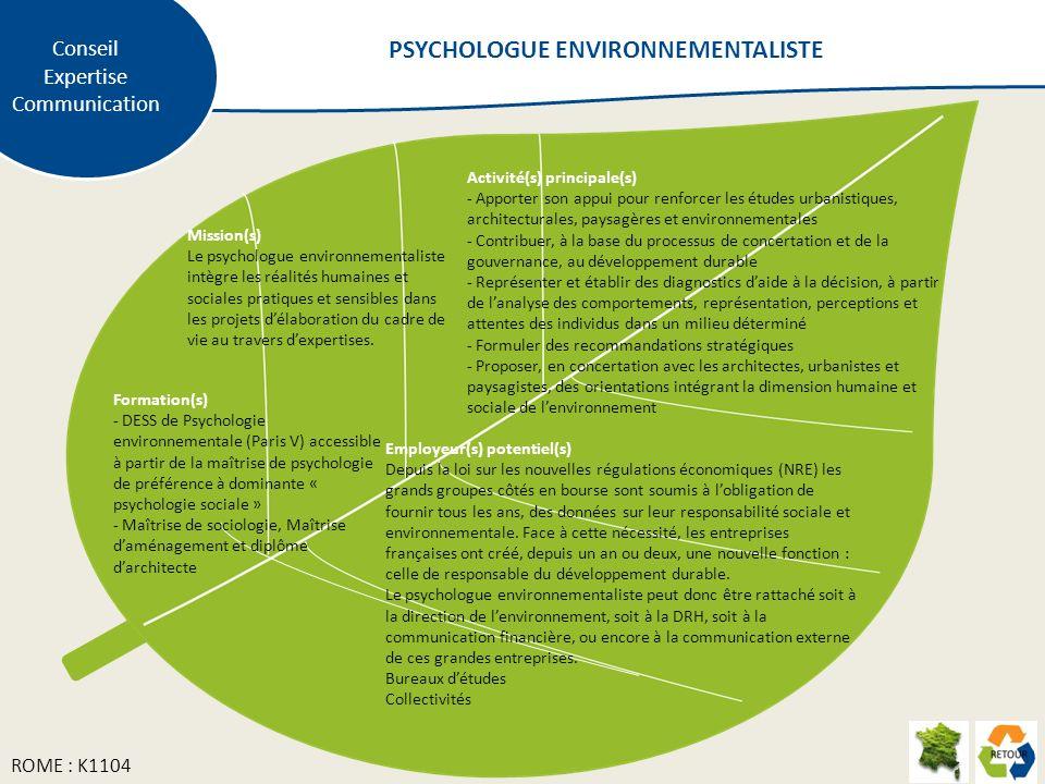 Mission(s) Le psychologue environnementaliste intègre les réalités humaines et sociales pratiques et sensibles dans les projets délaboration du cadre de vie au travers dexpertises.