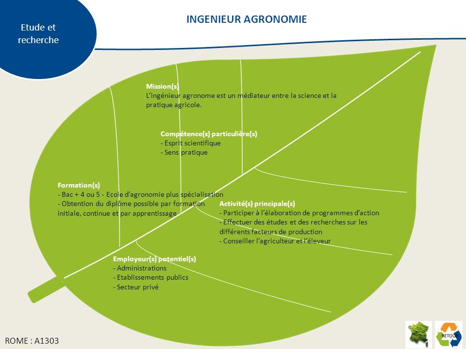 Mission(s) Lingénieur agronome est un médiateur entre la science et la pratique agricole. Formation(s) - Bac + 4 ou 5 - Ecole dagronomie plus spéciali