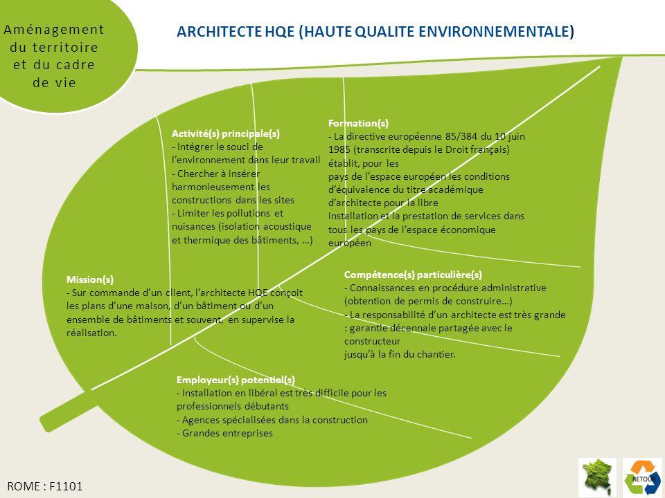 ARCHITECTE HQE (HAUTE QUALITE ENVIRONNEMENTALE) Aménagement du territoire et du cadre de vie Mission(s) - Sur commande dun client, larchitecte HQE con