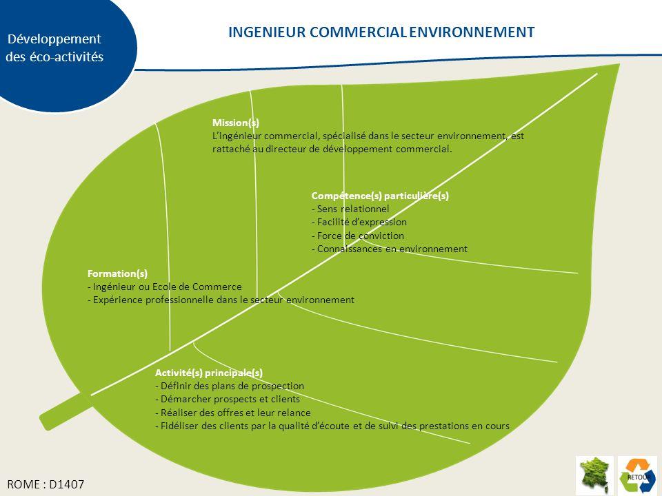 Développement des éco-activités Mission(s) Lingénieur commercial, spécialisé dans le secteur environnement, est rattaché au directeur de développement commercial.