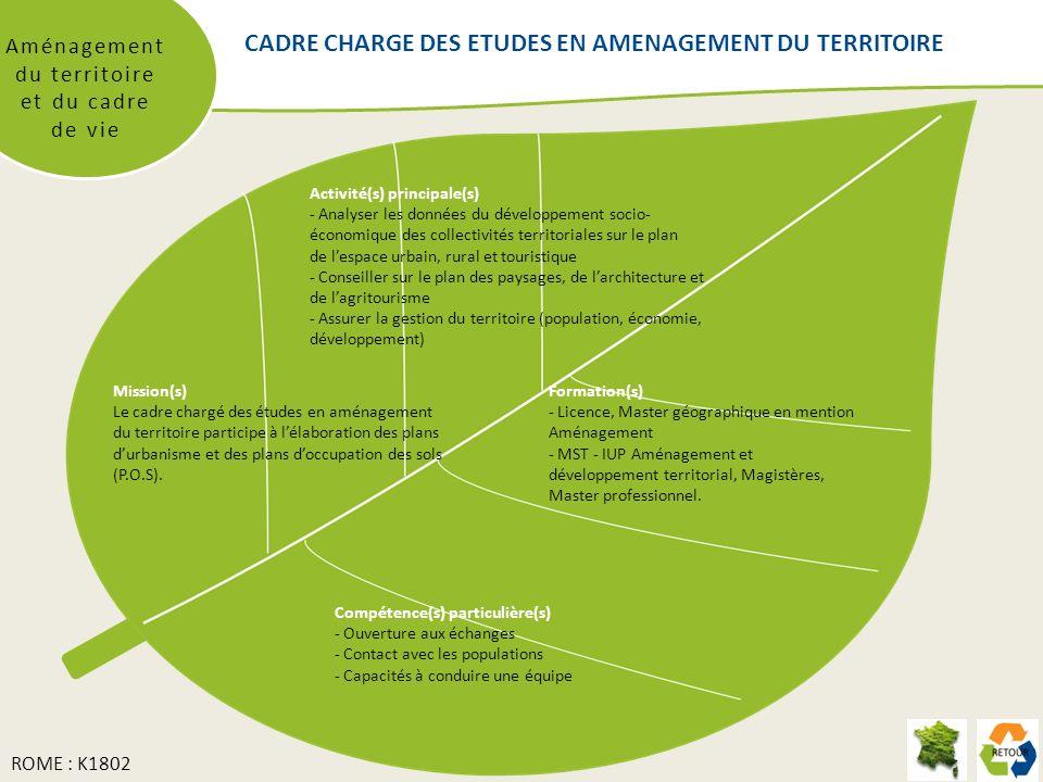 CADRE CHARGE DES ETUDES EN AMENAGEMENT DU TERRITOIRE Aménagement du territoire et du cadre de vie Mission(s) Le cadre chargé des études en aménagement