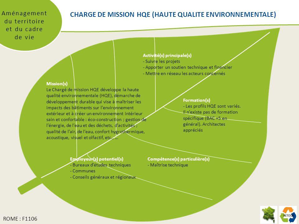 CHARGE DE MISSION HQE (HAUTE QUALITE ENVIRONNEMENTALE) Aménagement du territoire et du cadre de vie Mission(s) Le Chargé de mission HQE développe la haute qualité environnementale (HQE), démarche de développement durable qui vise à maîtriser les impacts des bâtiments sur lenvironnement extérieur et à créer un environnement intérieur sain et confortable : éco-construction ; gestion de lénergie, de leau et des déchets, dactivités ; qualité de lair, de leau, confort hygrothermique, acoustique, visuel et olfactif, etc., … Formation(s) - Les profils HQE sont variés.