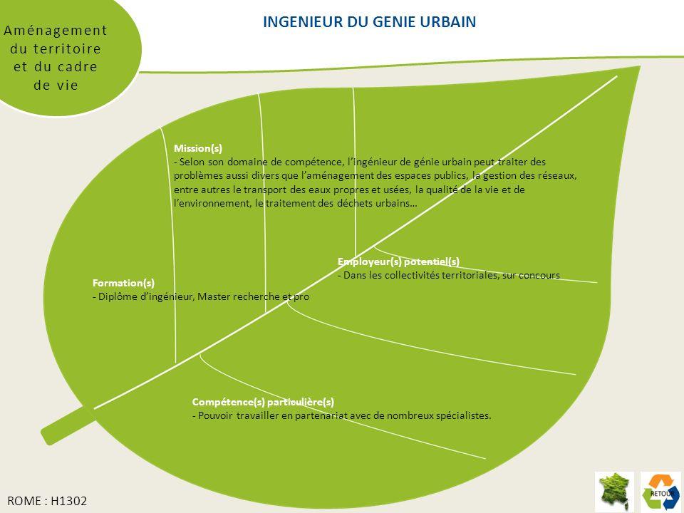 INGENIEUR DU GENIE URBAIN Aménagement du territoire et du cadre de vie Mission(s) - Selon son domaine de compétence, lingénieur de génie urbain peut traiter des problèmes aussi divers que laménagement des espaces publics, la gestion des réseaux, entre autres le transport des eaux propres et usées, la qualité de la vie et de lenvironnement, le traitement des déchets urbains… Formation(s) - Diplôme dingénieur, Master recherche et pro Compétence(s) particulière(s) - Pouvoir travailler en partenariat avec de nombreux spécialistes.